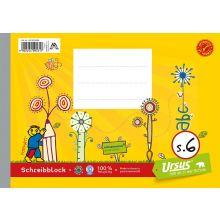 URSUS FORMATI Schreibblock S.6 A5 quer 48 Blatt liniert gelb