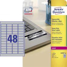 AVERY ZWECKFORM Typenschildetiketten L6009-20 960 Stück 45,7 x 21,2 mm silber