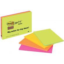 POST-IT® Haftnotizen 6845-SSP Super Sticky Meeting Notes 4 Blöcke à 45 Blatt 152 x 203 mm farbig sortiert