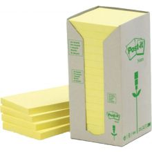 POST-IT® Haftnotizen 654-1T Recycling Notes 16 Blöcke à 100 Blatt 76 x 76 mm gelb
