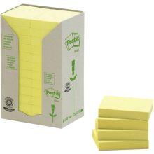 POST-IT® Haftnotizen 653-1T Recycling Notes 24 Blöcke à 100 Blatt 38 x 51 mm gelb