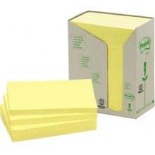 POST-IT® Haftnotizen 655-1T Recycling Notes 16 Blöcke à 100 Blatt 76 x 127 mm gelb