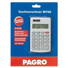 PAGRO Taschenrechner M700 Dualpower silber/grau