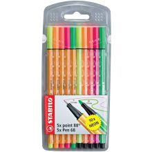 STABILO Filzstift Pen 68 und Fineliner Point 88 10 Stück im Etui mehrere Farben
