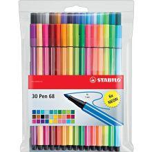 STABILO Filzstift Pen 68 30 Stück im Etui 1 mm mehrere Farben