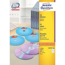 AVERY ZWECKFORM CD-Etiketten SuperSize L7676-100 200 Etiketten Ø 117 mm weiß
