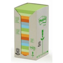 POST-IT® Haftnotizen Recycling Notes 654-1RPT 16 Blöcke à 100 Blatt 76 x 76 mm farbig sortiert