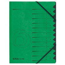 HERLITZ Ordnungsmappe Quality DIN A4 12 Fächer Karton grün