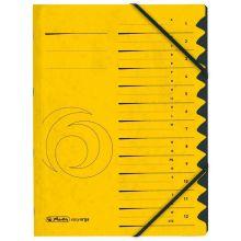 HERLITZ Ordnungsmappe Quality DIN A4 12 Fächer Karton gelb