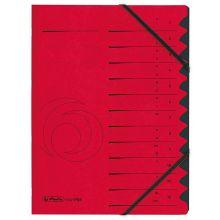 HERLITZ Ordnungsmappe Quality DIN A4 12 Fächer Karton rot