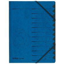HERLITZ Ordnungsmappe Quality DIN A4 12 Fächer Karton blau