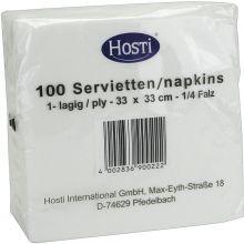 HOSTI Servietten 1/4 Falz 100 Stück 33 x 33 cm weiß
