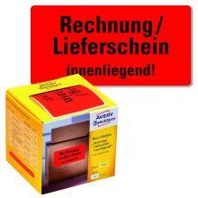 """AVERY ZWECKFORM Warnetiketten 7212 200 Etiketten """"Rechnung/Lieferschein innenliegend!"""" 100 x 50 mm neonrot"""