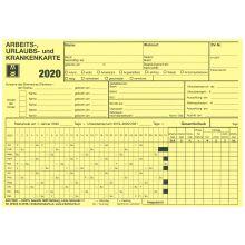 Arbeits-, Urlaubs- und Krankenkarte für 2020 DIN A5 quer gelb