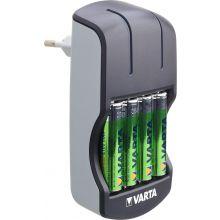 VARTA Ladegerät Plug Charger inkl. 4x VARTA Batterien Recharge Accu Power AA 2100 mAh schwarz