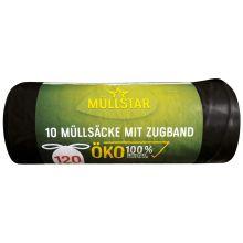 MÜLLSTAR Müllsäcke mit Zugband 10 Stück 120 Liter schwarz