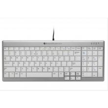 BAKKER ELKHUIZEN Tastatur Ultraboard 960 QWERTZ mit integriertem Ziffernblock und 2 USB-Ports silber