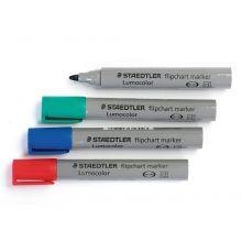 STAEDTLER Flipchartmarker Lumocolor 356 mit Rundspitze 2 mm 4 Stück farbig sortiert