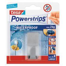 TESA Powerstrips Waterproof 59707 Haken aus Edelstahl silber