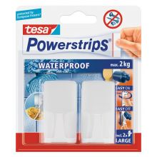 TESA Powerstrips Waterproof 59701 Haken 2 + 2 Stück weiß