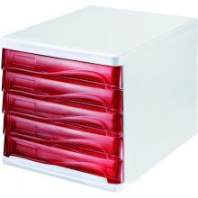 HELIT Schubladenbox 5 Fächer rot transparent