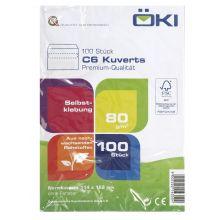 ÖKI Kuvert Classic C6-SK/CLA80 100 Stück DIN C6 selbstklebend ohne Fenster 80g/m² weiß