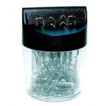 ALCO Magnetdose 2216 mit 100 Büroklammern 26 mm schwarz-transparent