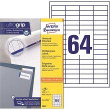 AVERY ZWECKFORM Universaletiketten ultragrip 3667 6.400 Stück 48,5 x 16,9 mm weiß
