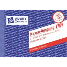 AVERY ZWECKFORM Kassa-Ausgang 1709 A6 quer 3x40 Blatt selbstdurchschreibend
