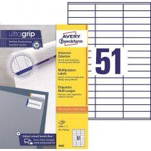 AVERY ZWECKFORM Universaletiketten ultragrip 3420 5.100 Stück 70 x 16,9 mm weiß