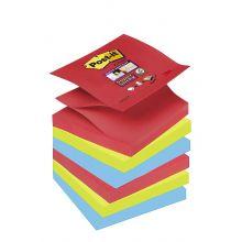 POST-IT Haftnotizen Super Sticky Z-Notes R3306SJ 6 Blöcke à 90 Blatt 76 x 76 mm mehrfarbig