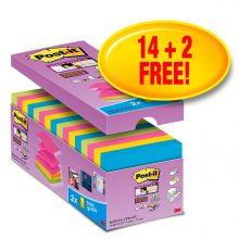 POST-IT® Haftnotizen Super Sticky Z-Notes R330S16 16 Blöcke à 90 Blatt 76 x 76 mm farbig sortiert