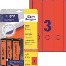 AVERY ZWECKFORM Ordneretiketten ultragrip L4752-20 60 Stück breit 61 x 297 mm rot