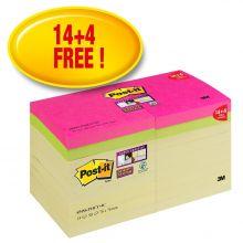 POST-IT® Haftnotizen Super Sticky 654SS-P14CY 18 Blöcke à 90 Blatt 76x76mm farbig sortiert