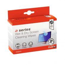 A-SERIES Reinigungstücher 2 x 20 Stück für CRT-, TFT- und LCD-Monitore