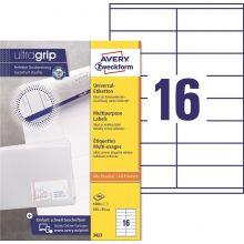 AVERY ZWECKFORM Universaletiketten ultragrip 3423 1.600 Stück 105 x 35 mm weiß