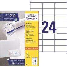 AVERY ZWECKFORM Universaletiketten ultragrip 3422 2.400 Stück 70 x 35 mm weiß
