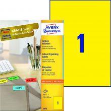 AVERY ZWECKFORM Organisationsetiketten 3473 100 Stück 210 x 297 mm gelb