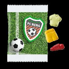 Fruchtgummi Fußballfieber 10g, 4c Digitaldruck, Druckformat: 140x85mm, mit 10% Fruchtgehalt aus Fruchtsaftkonzentrat, Produktionszeit: Standard