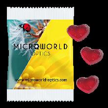 Fruchtgummi Herzchen 10g, 4c Digitaldruck, Druckformat: 140x85mm, mit 10% Fruchtgehalt aus Fruchtsaftkonzentrat, Produktionszeit: Standard