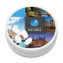 Mini-Bonbondose mit tic tac Fresh Mints (Inhalt: 18g), Druckdatei: 50mm Ø, 4c-Digitaldruck, Produktionszeit: Standard