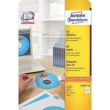 AVERY ZWECKFORM CD-Etiketten L6015-25 50 Etiketten Ø 117 mm weiß