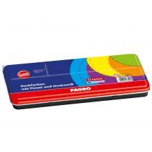 PAGRO Deckfarbkasten 5006 12 Farben inklusive Pinsel und Deckweiß